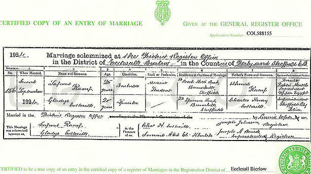 Gladys Coterill marriage certificate
